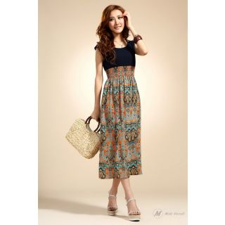 Modo Vivendi | Bohemian Fashion Style Vintage Chiffon Print Work Long Dress Maxi