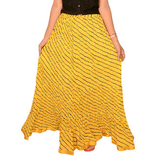 Rangsthali : Indian Designer Cotton Yellow Lehria Lehriya  Long Skirt