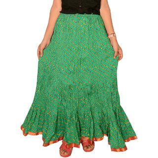 Rangsthali: Indian Designer Cotton Green Lehria  Lehriya Long Skirt