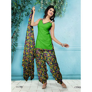 Designer Parrot Green Cotton Printed Dress Material