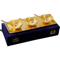 Anand Kala Mandir Gold Plated Apple Shaped Brass Bowls And Tray Set Of 7 Pcs