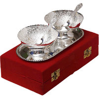 Anand Kala Mandir Silver Plated Brass Bowl With Tray Set Of 5 Pcs Gift Set