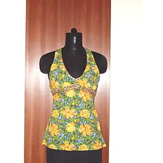 COTTON HAND BLOCK PRINTED HALTTER TOP WITH SEQUINS WORK