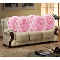 Set Of 5 Romantic Pink Rose Cushion Covers