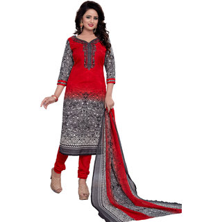 d467ec1acf Mastani Red Salwar Suit Material Printed Cotton Dress Material (Unstitched)