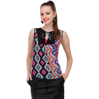 Yepme Krina Lace Top - Black & Multicolor