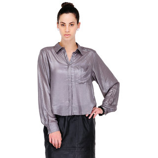 Yepme Clea Shirt Style Top - Grey