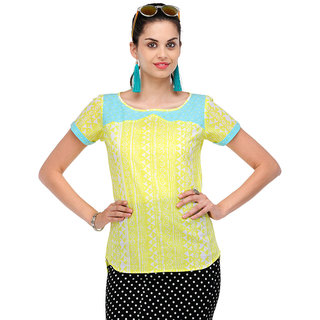 Yepme Efenia Printed Top -Yellow & White