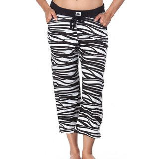 Nuteez I Am Wild Black & White Cotton Capri