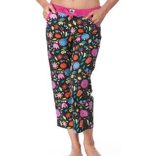 Nuteez Flower Power Black & Pink Cotton Capri