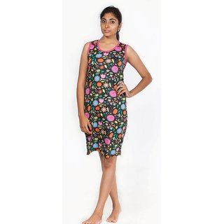 Nuteez Marvelous Black & Pink Flower Power Casual Cotton Dress