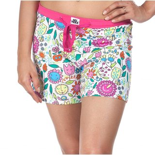 Nuteez Flower Power White & Pink Cotton Shorts