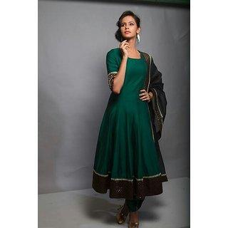 Dark Green Colour Of Ambrela Dress With Brocade