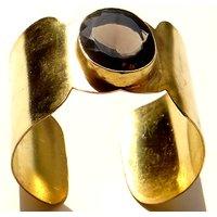 Gold Plated Cuff Bangle With Quartz Stone