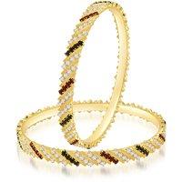 Sukkhi Marvelous Gold Plated Australian Diamond Stone Studded Bangles