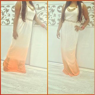 Orange White Peach Gown With Beautiful Neckpiece On The Neck