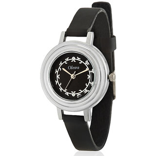 Oleva Analog Black Leather Watch (OLW8B) - Women