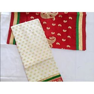 Heavy Broked White & Red Dress Material