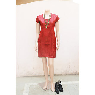 Classy Red Color Jute Dress