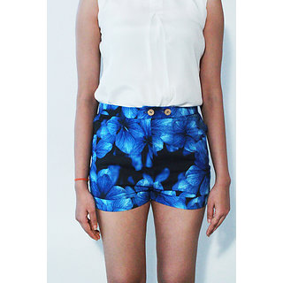 Blue Black Floral Print Linen Shorts