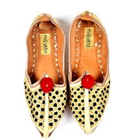 Pagrakha Designer Golden Zari And Thread Work Leather Footwear For Kids