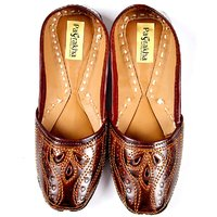 Pagrakha Cut Work Brown Leather Jaipuri Unisex Jutti