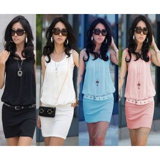 Modo Vivendi Cotton Blended Mini Dress For Women Summer Crew Neck Chiffon