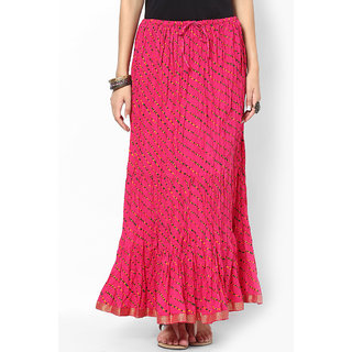 Rajasthani Sarees Classic Cotton Lehariya Printed Long Skirt