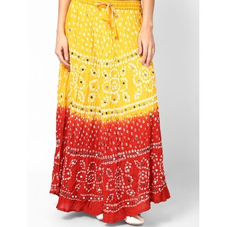 Rajasthani Sarees Stylish Cotton Bandhej Hand Work Skirt