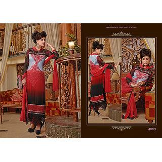 Shaded Grey, Red And Black Faux Georgette Churidar Salwaar Kameez