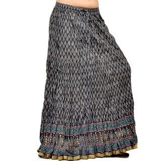Rajasthani Black Block Print Cute Cotton Skirt 231