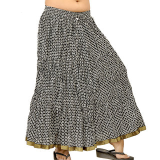 Exclusive Block Print Black White Long Skirt 237