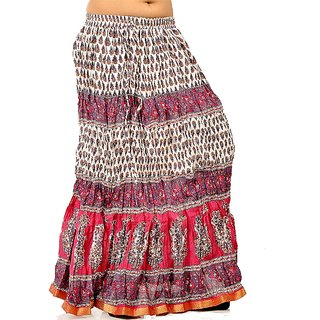 Ethnic Crushed White N Pink Cotton Long Skirt 253