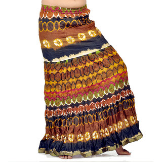 Crushed Style Blue Brown Cotton Long Skirt 270