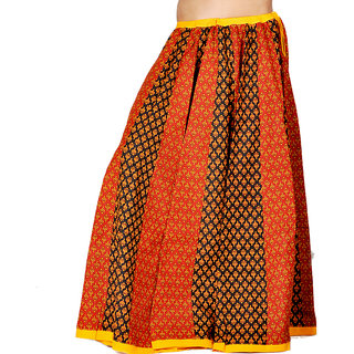 Jaipuri Ethnic Red Black Cotton Lehanga Skirt 282