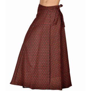 Trendy Block Print Red Black Wrap Around Skirt 293