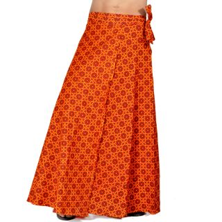 Ethnic Red And Yellow Cotton Wrap Around Skirt 298
