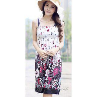 Modo Vivendi Printed Bohemian Frock Style Strap Shoulder Dress Knee Length