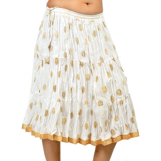Sanganeri Crushed Gold Print Pure Cotton Skirt 247 [CLONE]