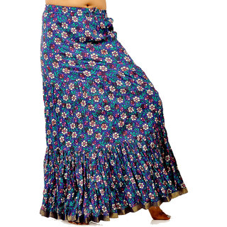 Fish Cut Floral Print Blue Pure Cotton Skirt 260 [CLONE]
