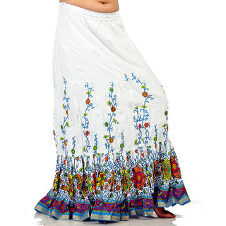 Sanganeri Leaf Print White Pure Cotton Skirt 271 [CLONE]