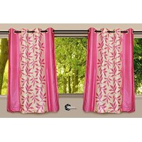 Beautiful Pink Color Floral Design Ready To Hang Door(7X4 Ft) Curtain