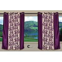 Beautiful Purple Color Floral Design Ready To Hang Door(7X4 Ft) Curtain