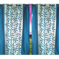 Beautiful Sky Blue Color Floral Design Ready To Hang Window(5X4 Ft) Curtain