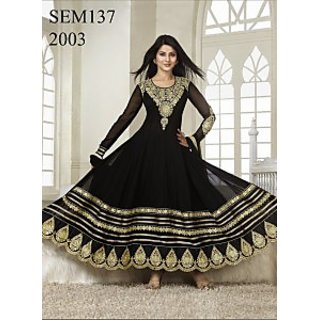 Semi Stitched Kumud Black Embroidered Anarkali Suit