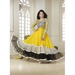 Latest Collection By Bright Yellow Kumud Anarkali Suit