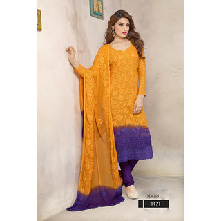 Latest Designer Orange And Blue Georgette Salwar Kameez