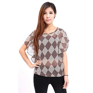 Stylish Lotus Leaf Plaid Chiffon Topwear. GLITZY BY ROOHIE