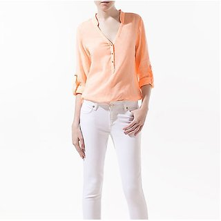 FloRida Egyptian Cotton Casual V Neck Long Sleeve Solid Peach Shirt