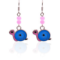 Trendy Baubles Pink & Blue Enamel Turtle With Pink Beads Metal Danglers